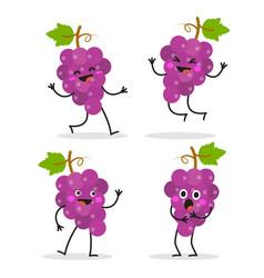 grape cute fruit character set vector image