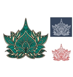 Green paisley flower with indian ornament vector