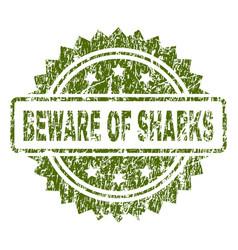 grunge textured beware of sharks stamp seal vector image