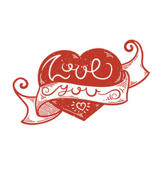 hand drawn doodle lettering with love you text vector image
