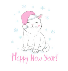 Hand drawn of a cute funny cat face in santa vector