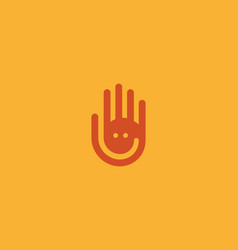 Hand fingers logo negative space smile vector