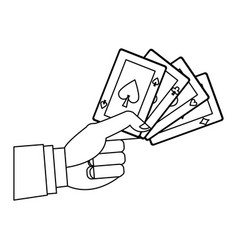 hand holding poker cards gambler casino outline vector image