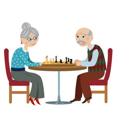 Happy grandparents playing chess vector