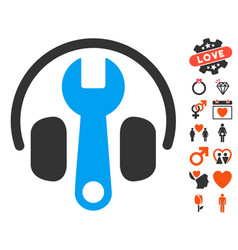 Headphones tuning wrench icon with dating bonus vector