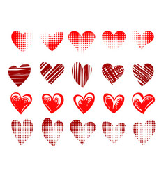 hearts emblem drawn in different styles set vector image