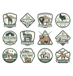 Hunting club icons with animals and hunter rifles vector