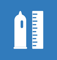Icon on background condom and ruler vector
