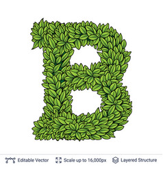 Letter b symbol of green leaves vector