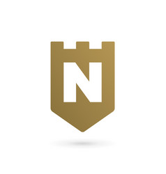 Letter n shield logo icon design template elements vector