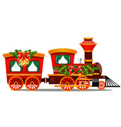 little red train with wagons decorated red ribbon vector image