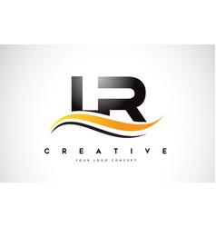 lr l r swoosh letter logo design with modern vector image