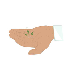 man hand with granules or homeopathy vector image