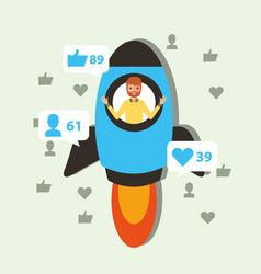 Man in rocket start viral content vector