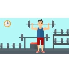 Man lifting barbell vector image