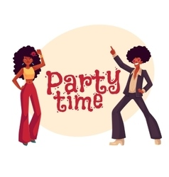 Man woman with afro hair in 1970s clothes dancing vector image