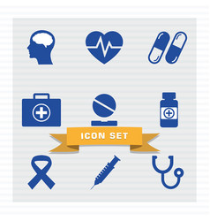 medical icon set flat style vector image