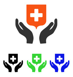 Medical shield care hands flat icon vector