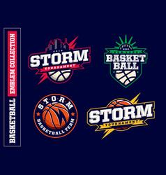 Modern professional basketball logo set for sport vector