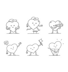 My favorites character set heart with legs hands vector
