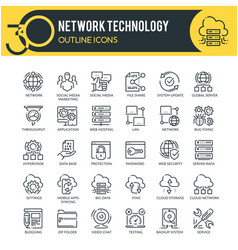 network icons set outline icons vector image