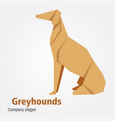 Origami dog breed greyhound vector