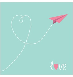 Origami pink paper plane Dash heart in the sky vector