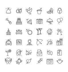 Outline set- wedding love icons vector