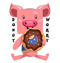Pig with donut on white background vector