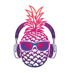 Pineapple with sunglases and headphones summer vector