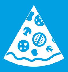 Pizza slice icon white vector