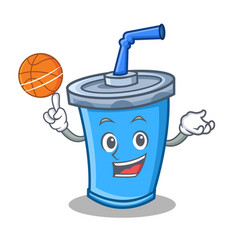 Playing basketball soda drink character cartoon vector