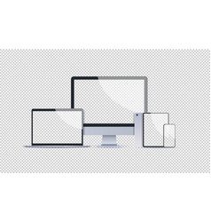 realistic electronic devices mockup set laptop vector image