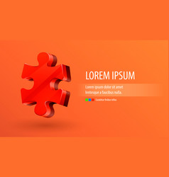 red piece of puzzle background vector image