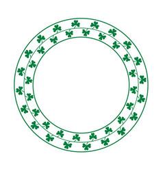 round frame made of clover leaves bringing good vector image