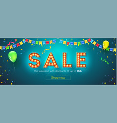 Sale festive banner with streamers vector