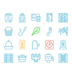 sauna equipment simple color line icons set vector image