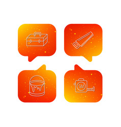 saw bucket of paint and tape measure icons vector image