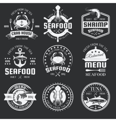 Seafood Monochrome Emblems vector