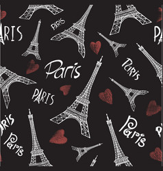 seamless background with eiffel tower vector image