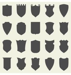 set blank empty dark shields shield badge vector image