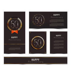 Set of 50th happy anniversary cards template vector
