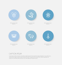 Set of 6 editable zoo icons includes symbols such vector