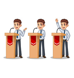 set of businessman in shirt giving a speech vector image