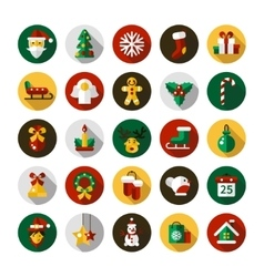 Set of Christmas and Happy New Year flat design vector image
