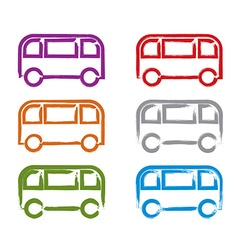 Set of hand-drawn colorful bus icons collection of vector image