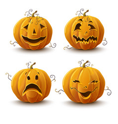 set of pumpkins for the holiday of halloween vector image