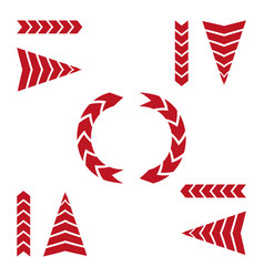 set of red arrows on white background vector image