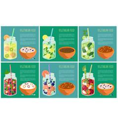 set of vegetarian food with refreshing detox diet vector image
