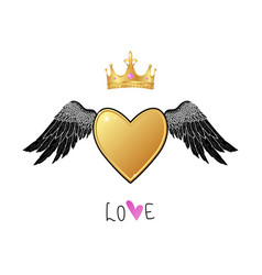 shiny gold heart with angel wings and crown vector image